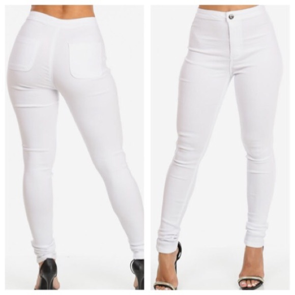 cheap sale outlet on sale best sell JC&JQ High waisted White Stretchy Jeans
